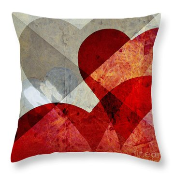 Hearts 8 Square Throw Pillow by Edward Fielding