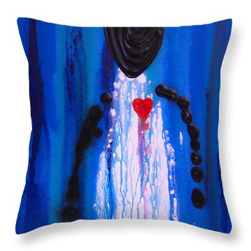 Heart And Soul - Angel Art Blue Painting Throw Pillow by Sharon Cummings