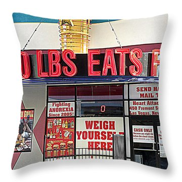 Heart Attack Grill Throw Pillow by Kay Novy