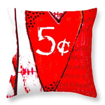 Heart Five Cents Red Throw Pillow