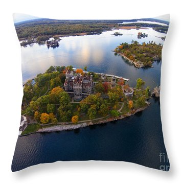 Heart Island George Boldt Castle Throw Pillow by Tony Cooper