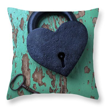 Heart Lock And Key Throw Pillow