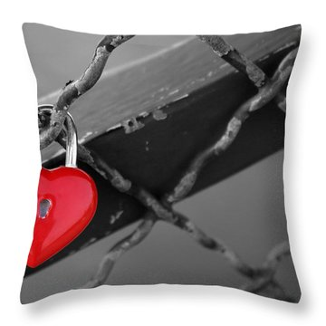 Heart Lock Throw Pillow by Lisa Parrish