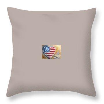 Heart Love Usa Throw Pillow by Bernadette Krupa