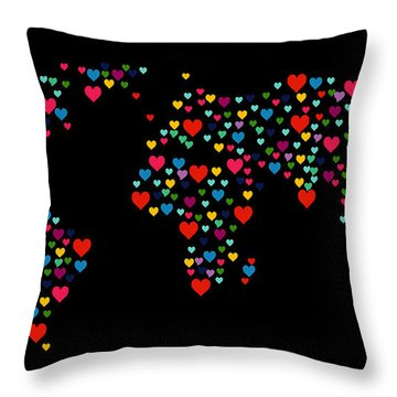 Heart Map  Throw Pillow by Mark Ashkenazi