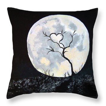 Heart Moon And Tree Throw Pillow