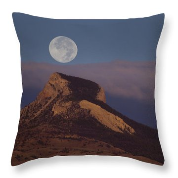 Heart Mountain And Full Moon-signed-#0325 Throw Pillow by J L Woody Wooden