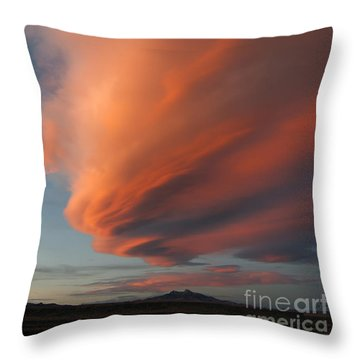 Heart Mountain Cirrus Sunset-signed Throw Pillow by J L Woody Wooden
