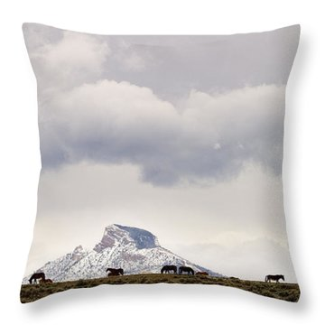 Heart Mountain Horses Throw Pillow by J L Woody Wooden