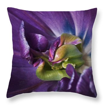 Heart Of A Purple Tulip Throw Pillow by Rona Black