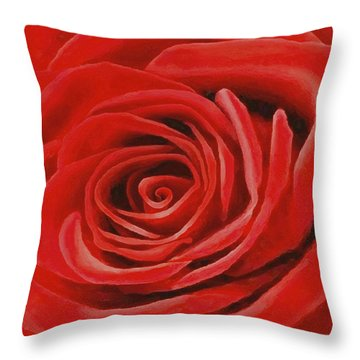Heart Of A Red Rose Throw Pillow by Sophia Schmierer
