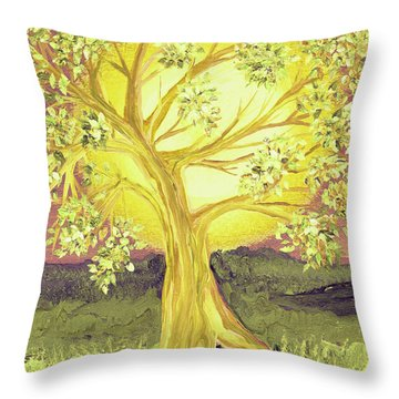Heart Of Gold Tree By Jrr Throw Pillow