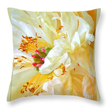Throw Pillow featuring the photograph Heart Of Peony by Nareeta Martin