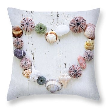 Heart Of Seashells And Rocks Throw Pillow