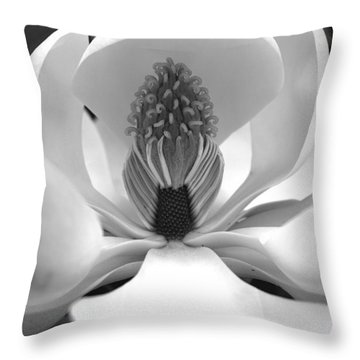 Heart Of The Magnolia Black And White Throw Pillow