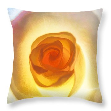 Throw Pillow featuring the photograph Heart Of The Rose by Peggy Hughes