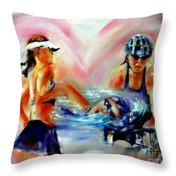 Heart Of The Triathlete Throw Pillow by Sandy Ryan