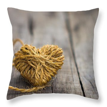 Heart Out Of String Throw Pillow