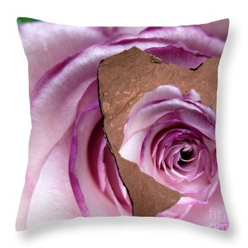 Heart Rock Neptune Rose Throw Pillow by Marlene Rose Besso