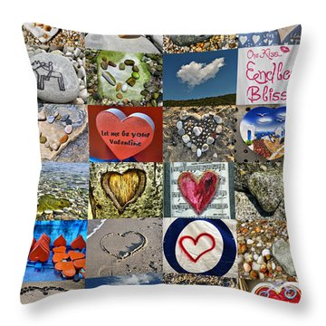 Heart Shape Collage  Throw Pillow by Daliana Pacuraru