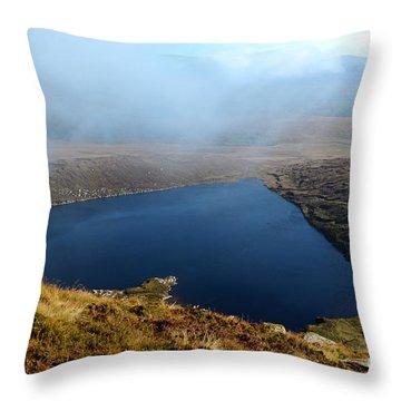 Heart Shape Lake Lough Ouler Wicklow In Ireland Throw Pillow