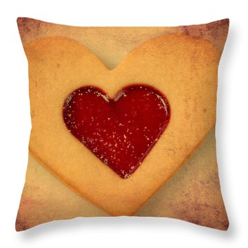 Heart Shaped Cookie With Texture Throw Pillow by Matthias Hauser