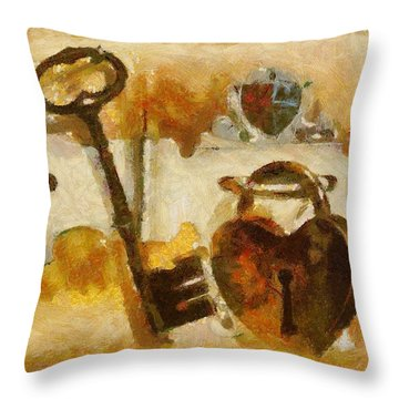 Heart Shaped Lock With Key Throw Pillow by Tracey Harrington-Simpson