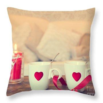 Heart Teacups Throw Pillow by Amanda Elwell
