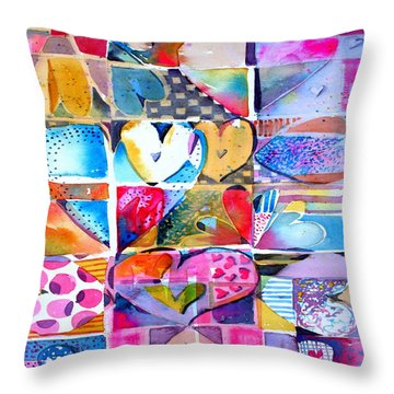 Heart Throbs Throw Pillow by Mindy Newman