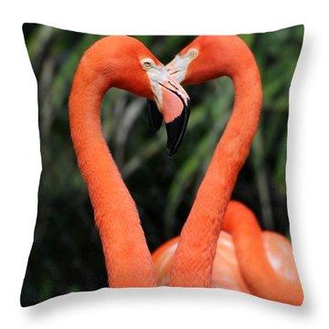 Heart To Heart Flamingo's Throw Pillow