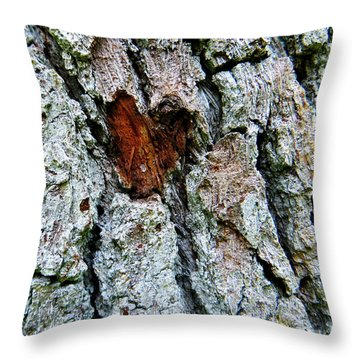 Heart Wood Throw Pillow by Joy Hardee