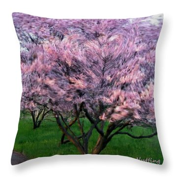 Throw Pillow featuring the painting Heartfelt Cherry Blossoms by Bruce Nutting