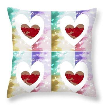 Throw Pillow featuring the digital art Heartful by Ann Calvo