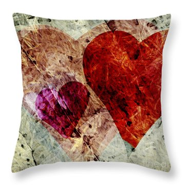 Hearts 10 Square Throw Pillow by Edward Fielding