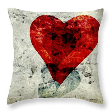 Hearts 3 Square Throw Pillow by Edward Fielding