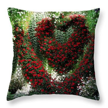 Throw Pillow featuring the photograph Hearts And Flowers by Jennifer Wheatley Wolf