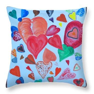 Hearts Throw Pillow