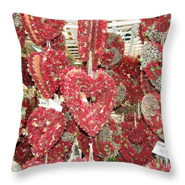 Heart's Full Of Flowers Throw Pillow