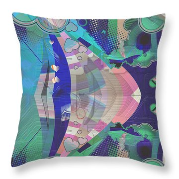 Hearts Gone Wild Throw Pillow by Liane Wright