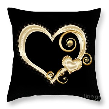 Hearts In Gold And Ivory On Black Throw Pillow