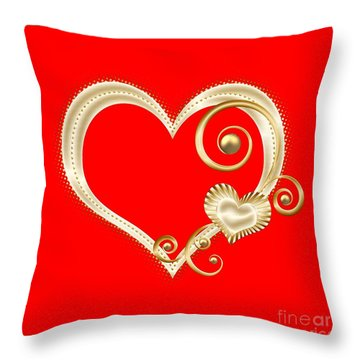 Throw Pillow featuring the digital art Hearts In Gold And Ivory On Red by Rose Santuci-Sofranko