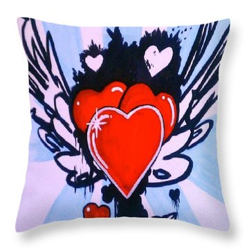 Hearts Throw Pillow by Marisela Mungia