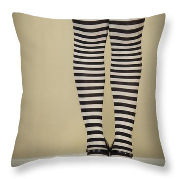 Hearts N Stripes Throw Pillow by Evelina Kremsdorf