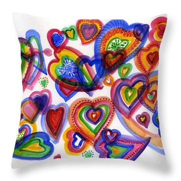 Hearts Of Colour Throw Pillow