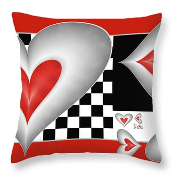 Throw Pillow featuring the digital art Hearts On A Chessboard by Gabiw Art