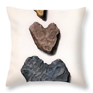 Throw Pillow featuring the painting Hearts Rock by Janice Dunbar