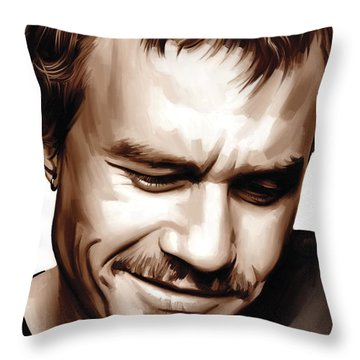 Heath Ledger Artwork Throw Pillow by Sheraz A