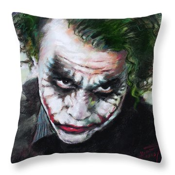 Heath Ledger The Dark Knight Throw Pillow by Viola El