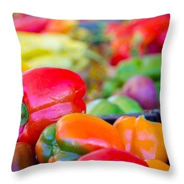 Heatlhy Peppers Throw Pillow