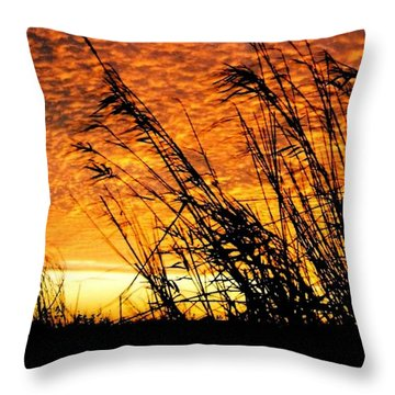 Sunset Heaven And Hell In Beaumont Texas Throw Pillow by Michael Hoard